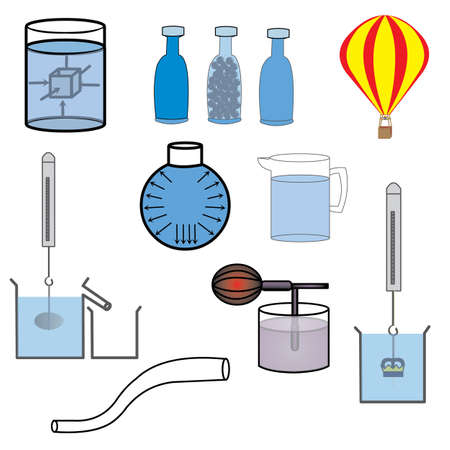 science laboratory equipment on white background Illustration