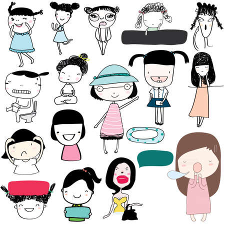 The girl with the emotions of the day and activities. Illustration