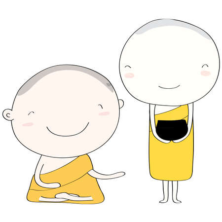 Priests who look happy and calm in Buddhism. Vector