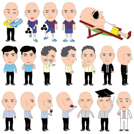 baldness: Boss Action Emoticon Vector