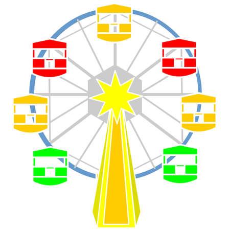 Een kleurrijke reuzenrad voor amusement vector