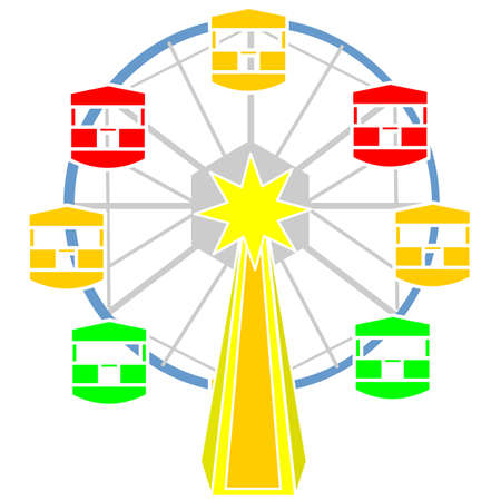 A colorful ferris wheel for amusement vector