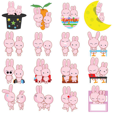 Rabbit, male and female, who is happy to live each day with a carnival activities  Vector