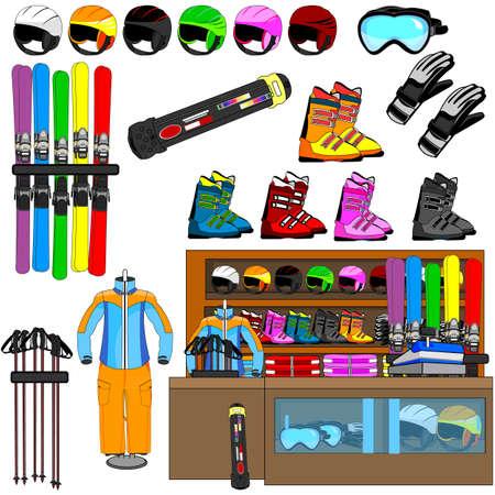 ski shop and equipment tools vector Stock Vector - 29427634