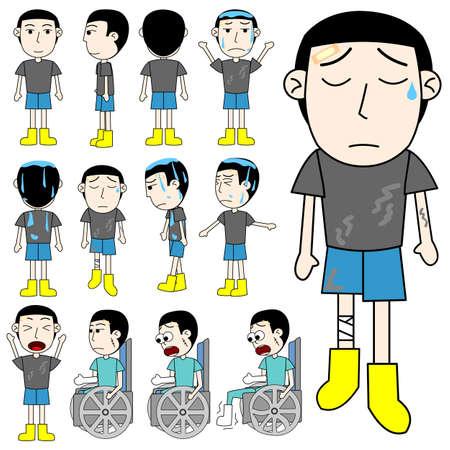 unlucky man cartoon vector Illustration