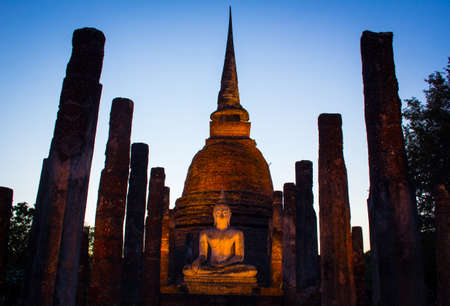 Buddha evening sun light Stock Photo