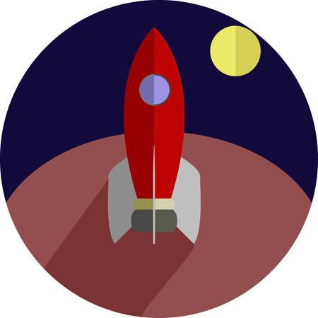 flat: Rocket Round Flat Illustration