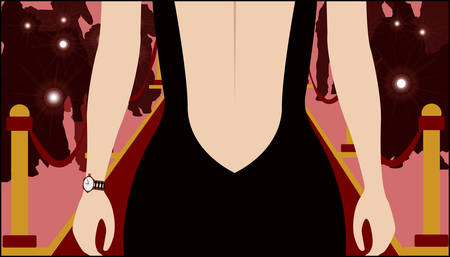 talented: woman standing on red carpet Illustration