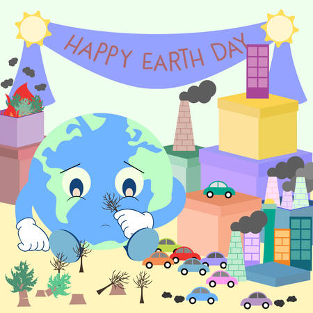 sarcastic: illustration of cute earth given gift some problem
