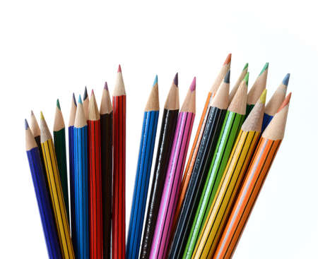 art supplies: Studio image of sharp colored pencils against a white background with shift distortion. Copy space.