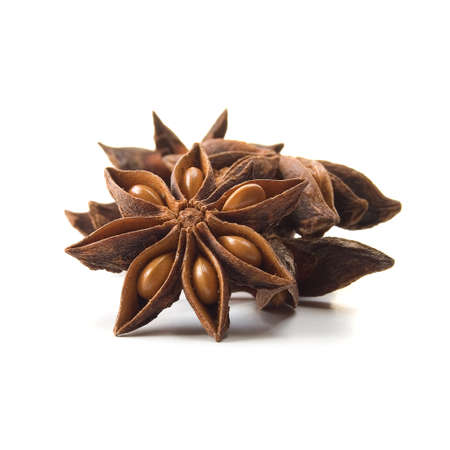 aniseed: Star Anise  Illicium verum  or Chinese star anise spice  Studio image isolated on white background  Square crop  Stock Photo