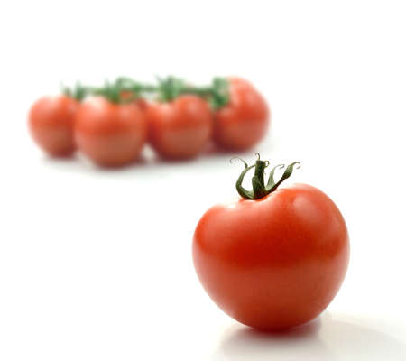 Studio image of juicy ripe single tomato with deliberately defocussed  tomatoes on the vine against a white background  Copy space