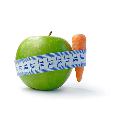 Macro image depicting a diet concept against a white background.  photo