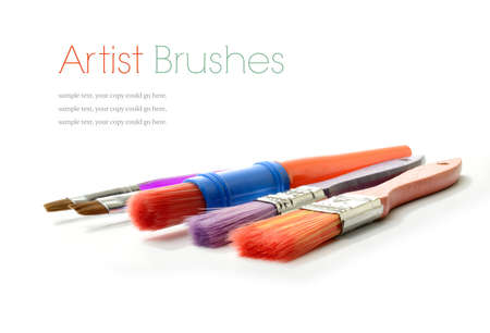 prospectus: Studio macro of a selection of colorful artists brushes on a white background with soft shadows. Copy space.