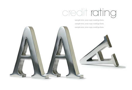 lower value: Lost triple A rating concept image. Sign of the times for many economies around the world. Copy space.