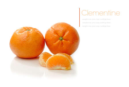Studio macro of juicy clementines with soft shadows on a white surface. Stock Photo - 18166474