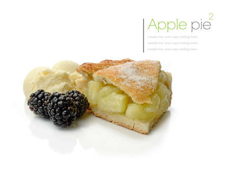 Studio macro of fresh apple pie, vanilla ice cream and seasonal fruit with soft shadows on a white surface. Copy space. photo