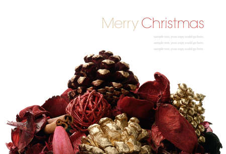 Studio image of a seasonal Christmas display against a white background. Copy space. photo