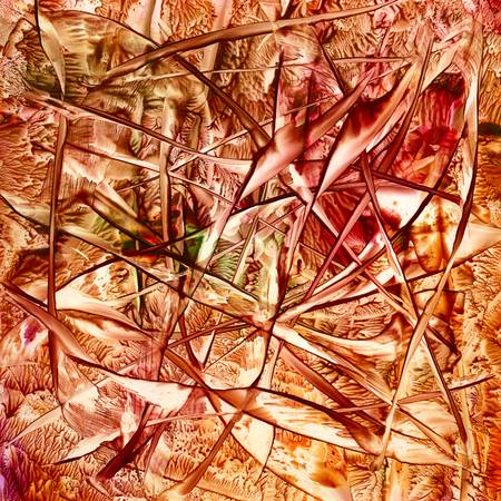amber: Wax substrate Autumn abstract on paper. Original hand-made art. Stock Photo