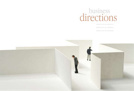 A business concept image of a maze and selective focus against a white background. Copy space. Standard-Bild