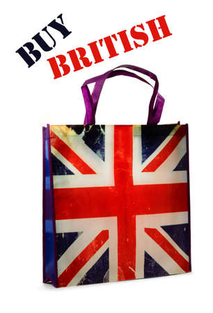 Backlit British flag (Union Jack) shopping bag promoting buy British. White background. photo