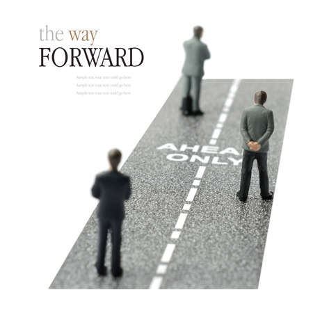 moving forward: Concept image depicting the only way forward in the business work place. Copy space.