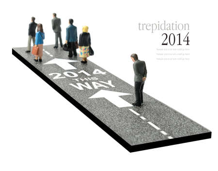 worse: Concept image depicting a man showing some trepidation on the way to the year 2014. Will it be a better year or worse than 2013? Copy space.