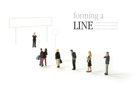 waiting in line: A graphic designer template concept  for a line of people at an airport, immigration desk, passport control, check-in desk etc. Fill in your own decals and add your own copy! Stock Photo