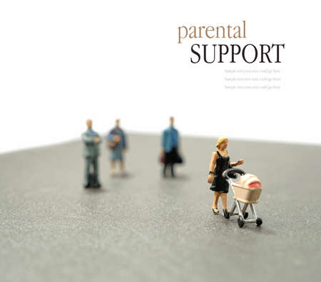 Concept stock image depicting single parent with support mechanisms and assistance. Differential focus. Copy space. photo