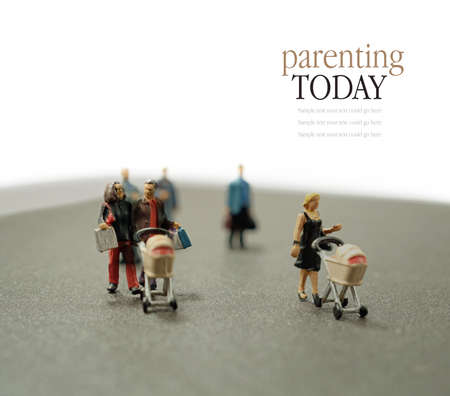 differential focus: Concept stock image depicting modern parents within society. Differential focus. Copy space. Stock Photo