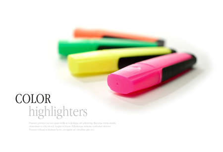 Studio macro of colorful highlighters against a white background. Copy space. photo
