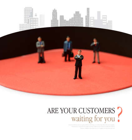 unsatisfied: Concept business depicting waiting customers. Do you keep keep your customers waiting or do you never keep them waiting Copy space for your own message. Stock Photo