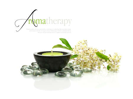 Concept image depicting aromatherapy treatments with fresh flowers and aromatic candle against a clean white surface. Copy space. Standard-Bild