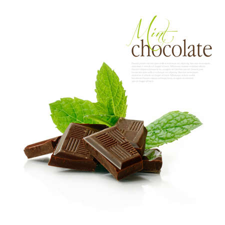 Studio macro of dark chocolate pieces with fresh green mint leaves on a white surface. Copy space. photo