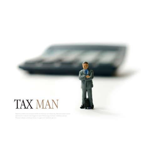 税の人、収益と税関等の概念イメージです。スペースをコピーします。