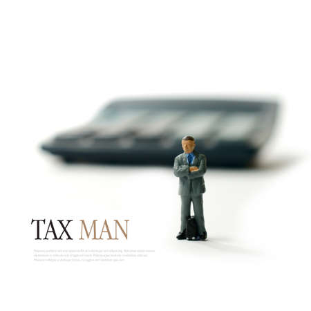 calculator: Concept image for tax man, revenue and customs etc. Copy space.
