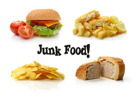 Concept composite of junk food images, beautifully photographed :) Can be used separately with cropping tool. White background and copy space. Standard-Bild