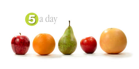 Concept image for the Five A Day - healthy diet. A line of five fresh fruits with soft shadows against a white background. Copy space.