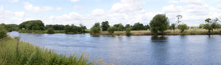 joins: Panoramic view of the River Trent in Nottinghamshire at the point the River Derwent joins 66 miles south of it