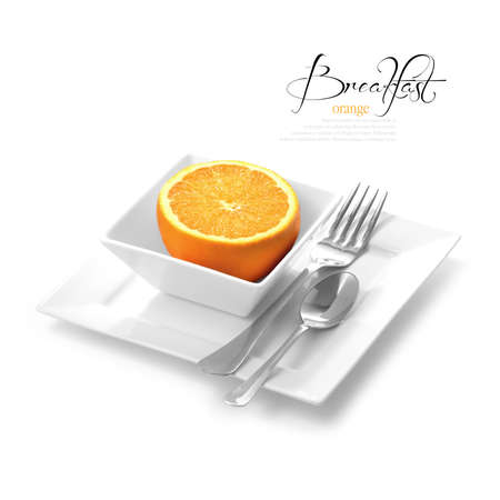 selectively: High key studio shot of fresh-cut morning orange in white dish  Selectively lit to create soft shadows color corrected to create a black and white background  Copy space  Stock Photo