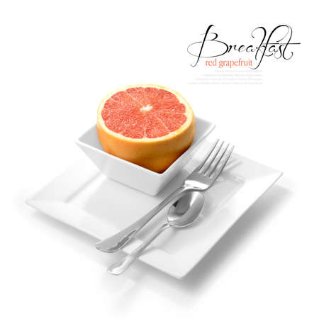 pith: High key studio shot of fresh-cut red grapefruit in white dish  Selectively lit to create soft shadows color corrected to create a black and white background  Copy space