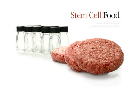 hygeine: Concept image for stem cell food production  Glass bottles in background represent the stem cell development process used recently to produce the first beef burgers made entirely from stem cells in a laboratory