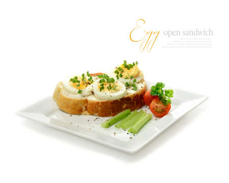 sandwich spread: Freshly-made egg and mustard cress open sandwich with copy space against a white background  Perfect for a menu, poster or web page promoting quality and delicious food  Stock Photo