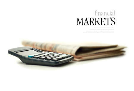 Concept image representing the reporting of the financial markets against a white background  Copy space