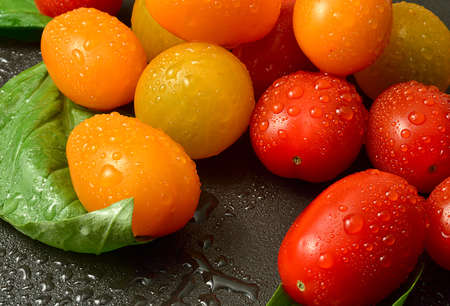 tomatos: A refreshing image of a melody of assorted tasty fresh Meli Melo tomatoes soaked in freshwater on a dark granite surface  Shallow depth of field with differential focus