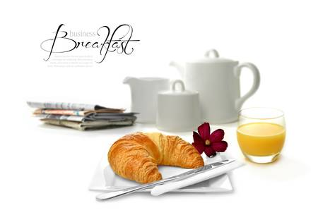 Concept color image depicting a business breakfast  Perfect image for your hotel brochure or business travel designs  Copy space  photo