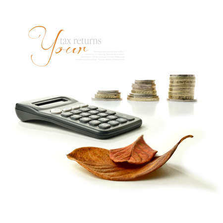 pensions: A concept montage of autumnal images relating to financial matters  Tax returns due or maybe pension arrangements in the autumn of ones years  Copy space  Stock Photo