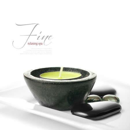 shallow depth of field: Part of my fine series of images  Shallow depth of field macro of spa essentials on a white surface  The perfect image for a spa menu design  Copy space  Stock Photo