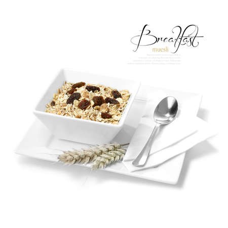 Concept image for healthy diet  Tasty morning muesli in white dish  Selectively lit to create soft shadows  The perfect image for a hotel or restaurant breakfast menu design  Copy space  photo