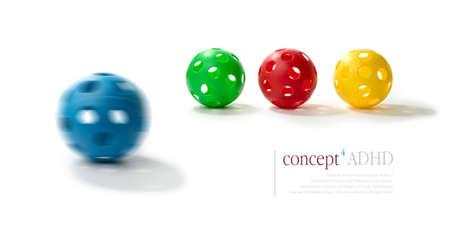 psicologia infantil: Concepto de imagen que ilustra por Déficit de Atención e Hiperactividad TDAH Spinning pelota de plástico azul con la ilusión de dos ojos y una boca en primer plano con pelotas normales en relieve en concepto de TDAH Copie el espacio Foto de archivo